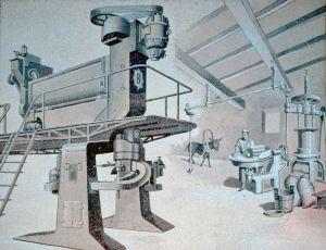 Enrico Bonaretti (1893-1978), La moderna pressa continua Braibanti sostituisce le macchine del vecchio pastificio, mosaico. Parma, Piazzale Barbieri, Ex Officine Barbieri,1938