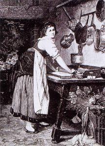 Preparazione domestica della pasta in una incisione ottocentesca