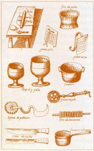 BARTOLOMEO SCAPPI (fine 1400-1548), Diversi attrezzi da cucina per la lavorazione della pasta, acquaforte, da Opera, Venezia, 1570.