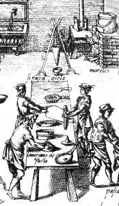 Lavorazione della pasta fresca, da Bartolomeo Scappi, Opera, Venezia, 1570.