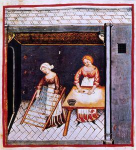 La preparazione degli spaghetti essiccati in una tavola del Theatrum Sanitatis di Ububchasym de Baldach, fine del XIV secolo (Roma, Biblioteca Casanatense, cod. 4182)