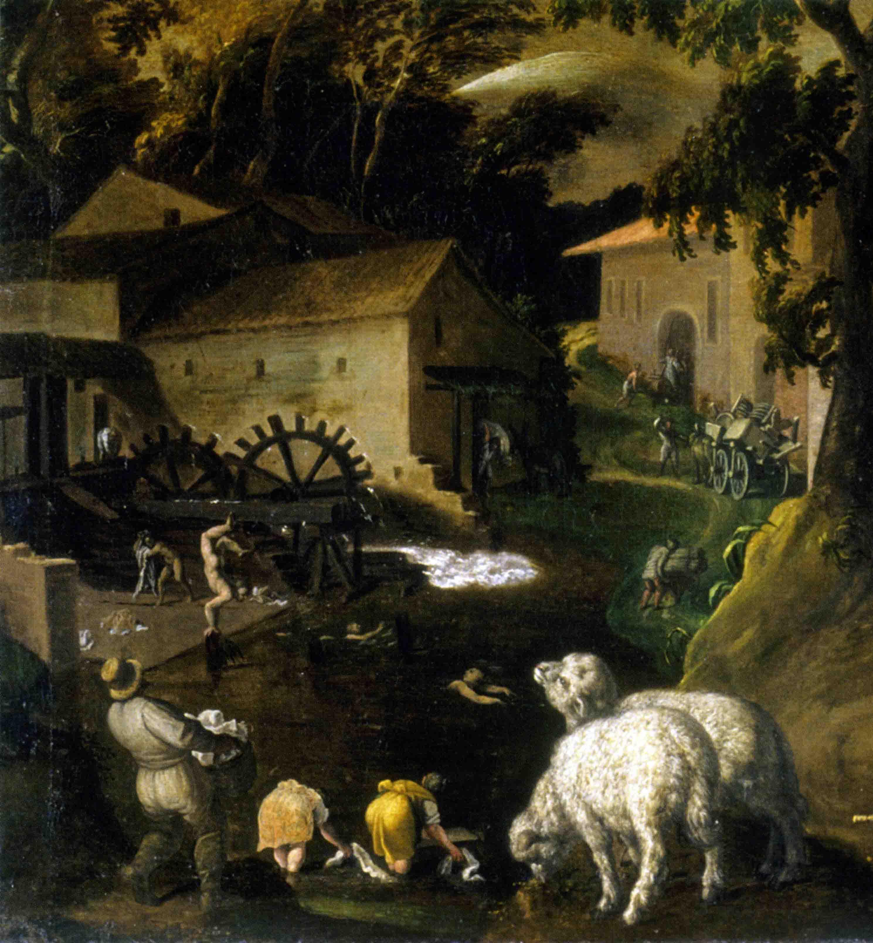 Vincenzo Campi (1536-1591), San Martino (trasloco di contadini con mulino), olio su tela, 1580 ca. - Particolare (Cremona, Museo Civico Ala Ponzone)